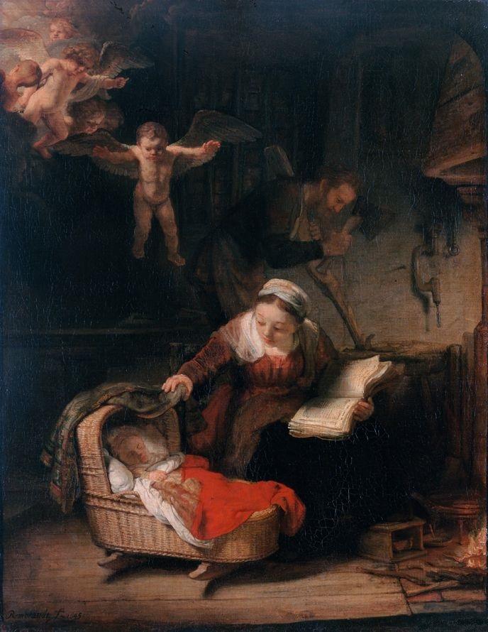 sacra famiglia con angeli - Rembrandt